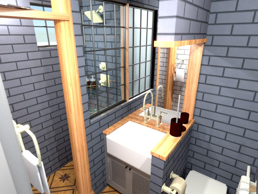 Blue wood classic bathroom 1133178 by SangWoon image