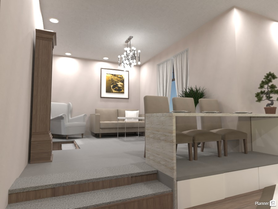 White and wood, Living room and kitchen 3712092 by Doggy image