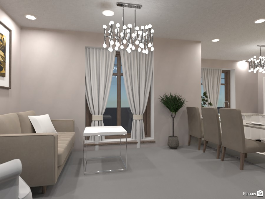 White and wood, Living room and kitchen 3712095 by Doggy image