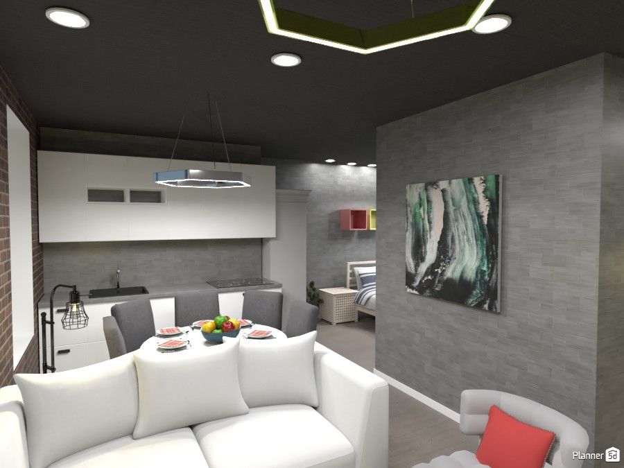 Apartment, Living room and kitchen, Render 2 3616489 by Designer (doggy) image