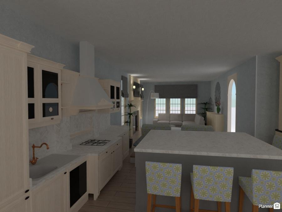 Kitchen family room combo living room ideas planner 5d for Kitchen family room combo