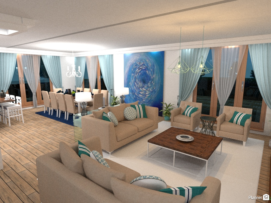 Blue and brown - Apartment ideas - Planner 5D
