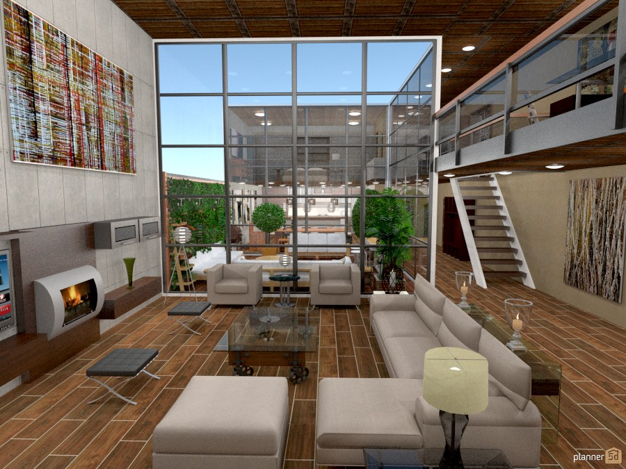 Loft with atrium apartment ideas planner 5d for Atrium design and decoration