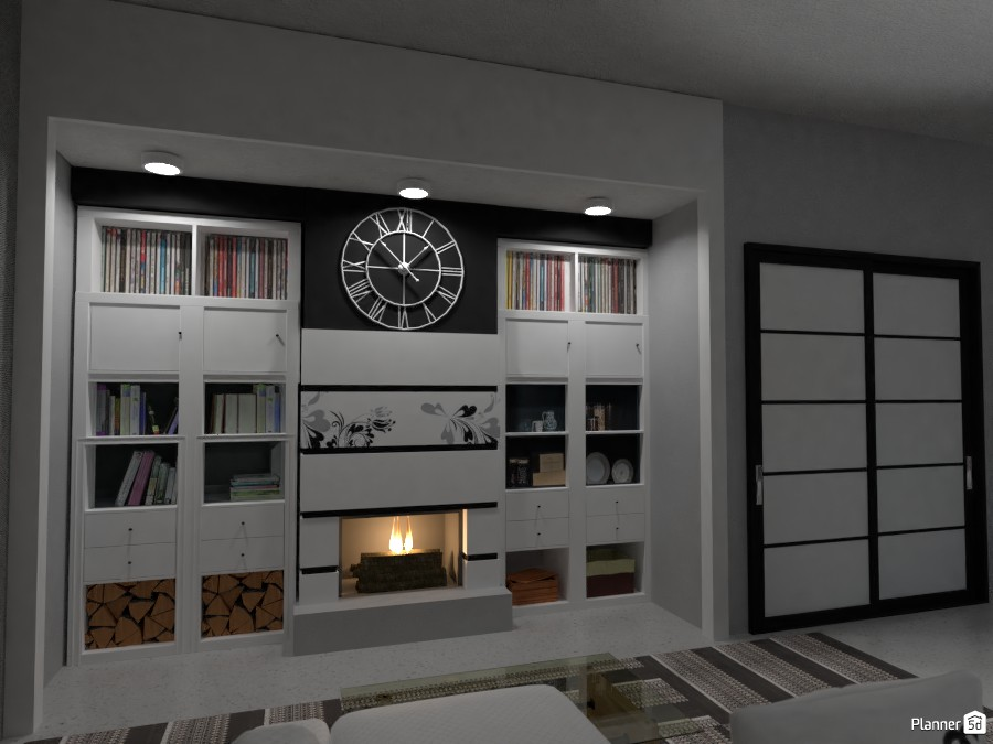 Modern library with Fireplace 3080699 by Fede Lars image