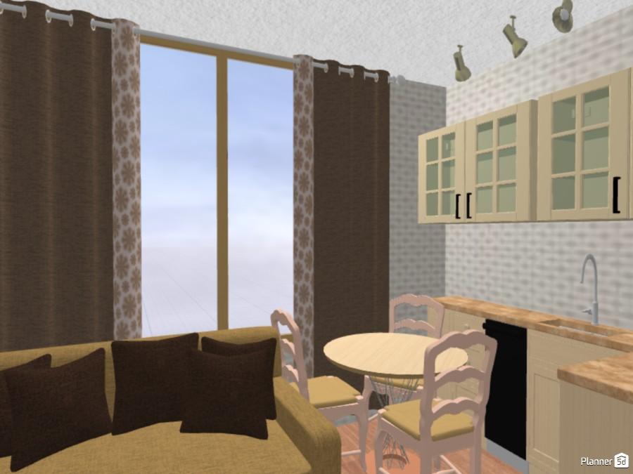 Квартира-студия. 20 кв.м. С перегородкой и балконом 70441 by Ирина Михайловна image