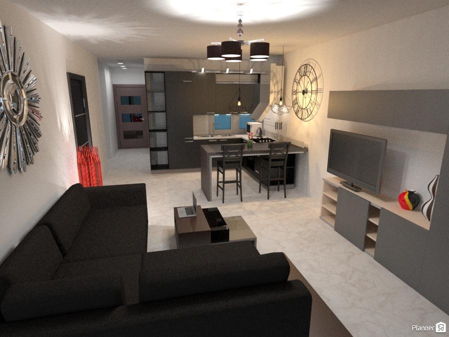 Penthouse open plan design Apartment ideas Planner 5D