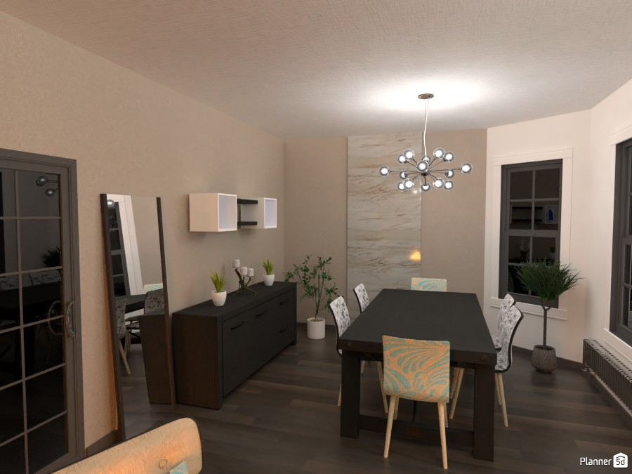 MODERN LIVING ROOM WITH MAIN COLOURS OF BLACK WHITE AND BROWN 3769136 by Didi image