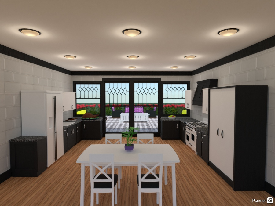 two tone kitchen with patio 2297956 by Joy Suiter image
