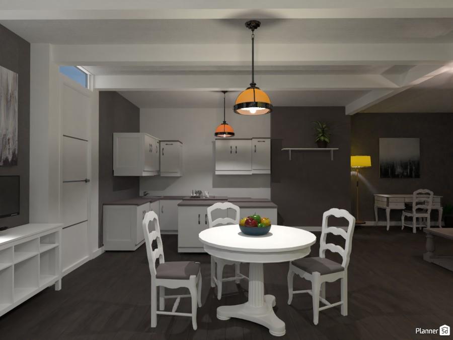 ISLAND KITCHEN WITH LIVING ROOM WITH DINING TABLE! 82640 by Huzaifah shaikh( The ninja) image