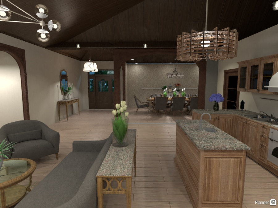 Open Concept Living Room, Dining Room and Kitchen - Idee per case ...