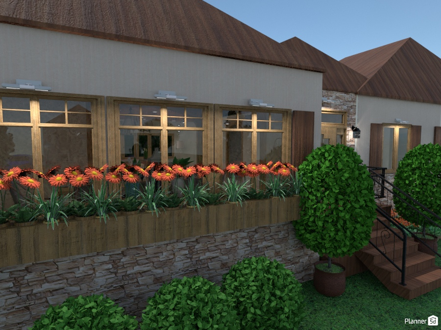 Foyer Planter Box : Planter boxes near front entryway of model home house