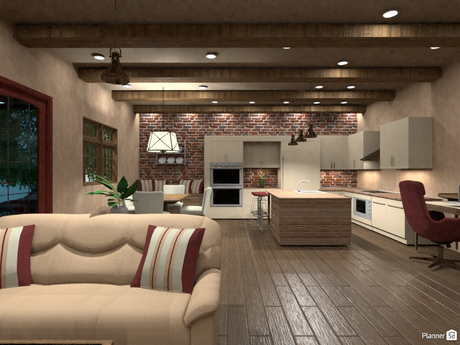 Brick Wall Kitchen Apartment Ideas Planner 5d