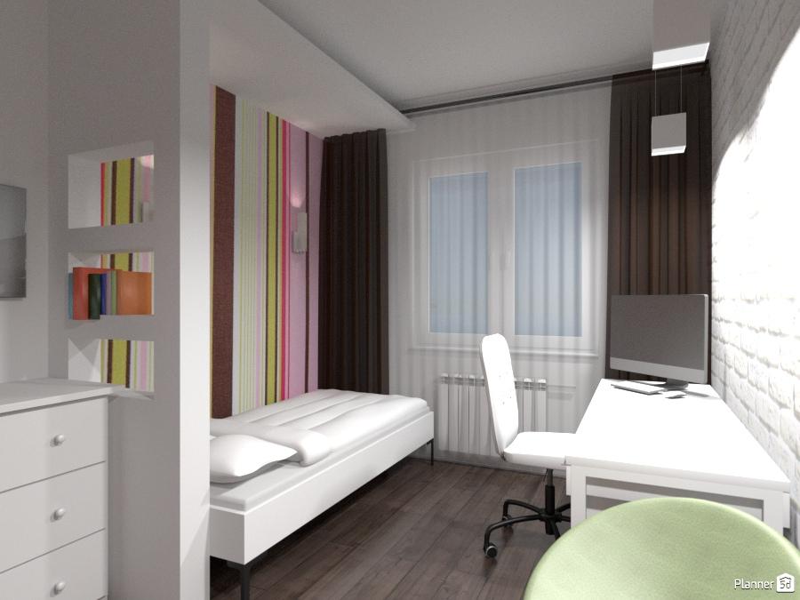 Узкая спальня (детская) 3 - Apartment ideas - Planner 5D
