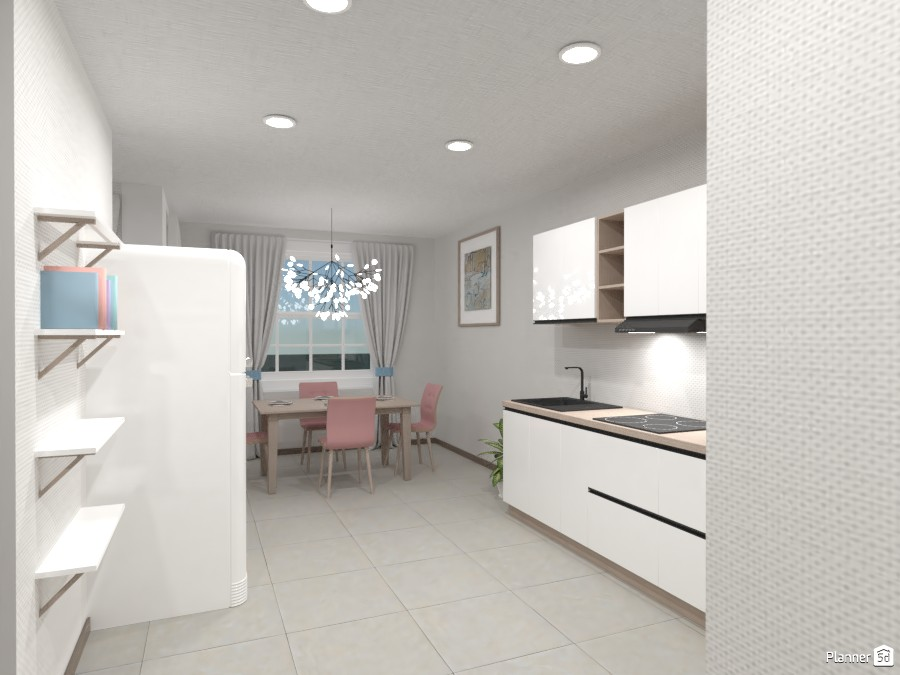 kitchen with dining room, and living room, in pastel colours 82297 by Chani image
