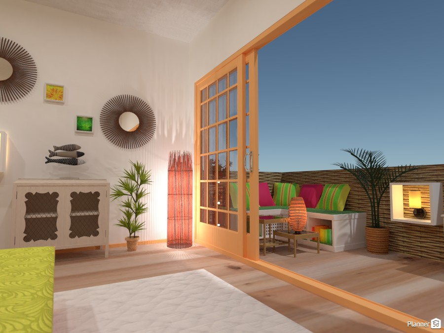 Tropical bedroom with a balcony 83642 by Gabes image