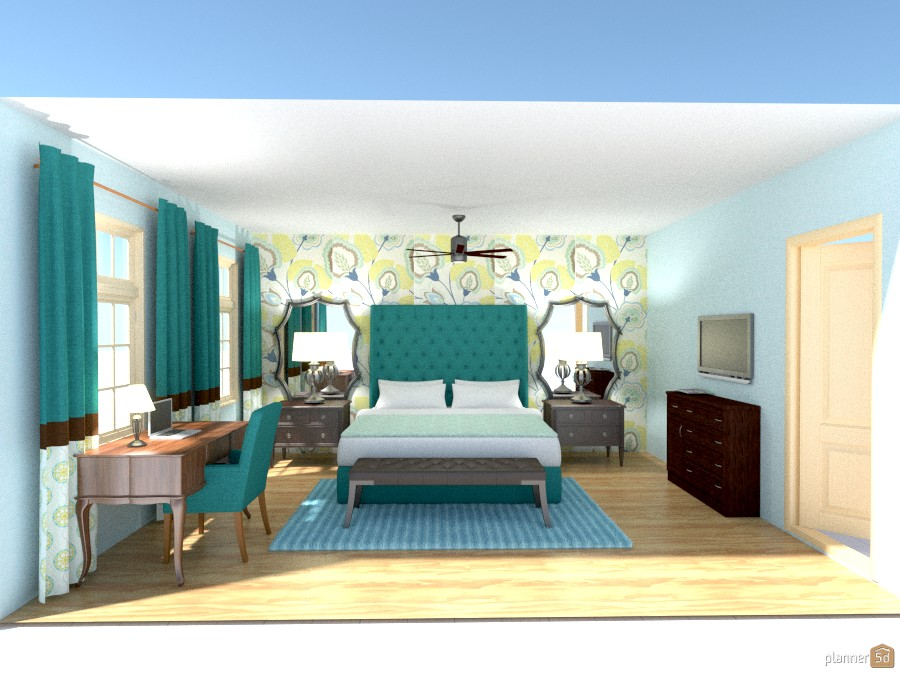 Scopeland posh teal bedroom apartment ideas planner 5d for Posh bedroom designs