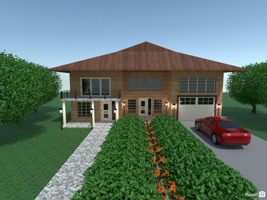 Log House Deck And Patios Ideas Para Casas Planner 5d