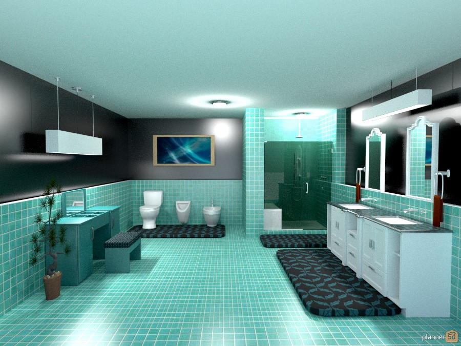 blue/green tile bathroom 807854 by Joy Suiter image