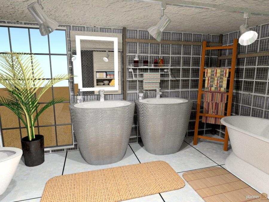 Industrial loft variante bagno - Planner bagno 3d ...