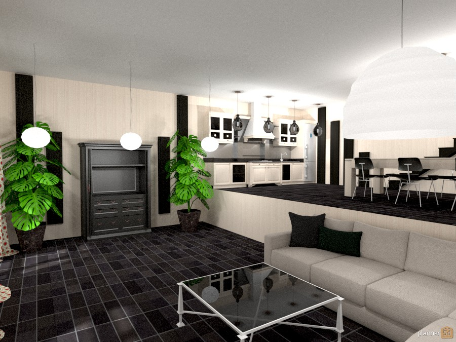 Moderno blanco y negro furniture ideas planner 5d for Decoracion cocina comedor