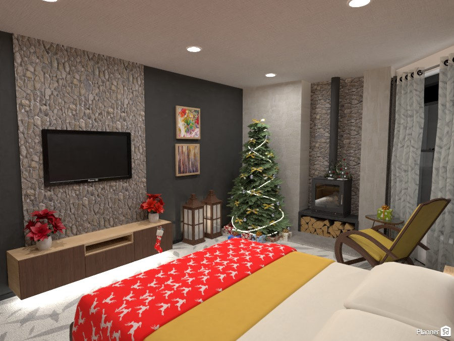 modern bedroom with fireplace 3828931 by Didi image