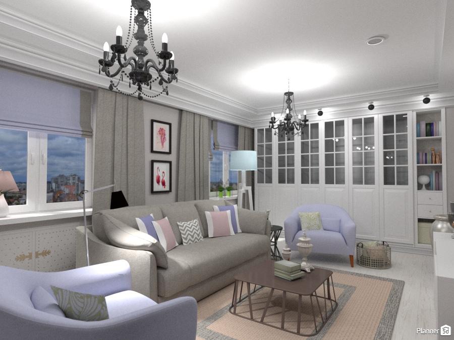 Гостиная в трехкомнатной квартире 1710954 by Elena Strenova image