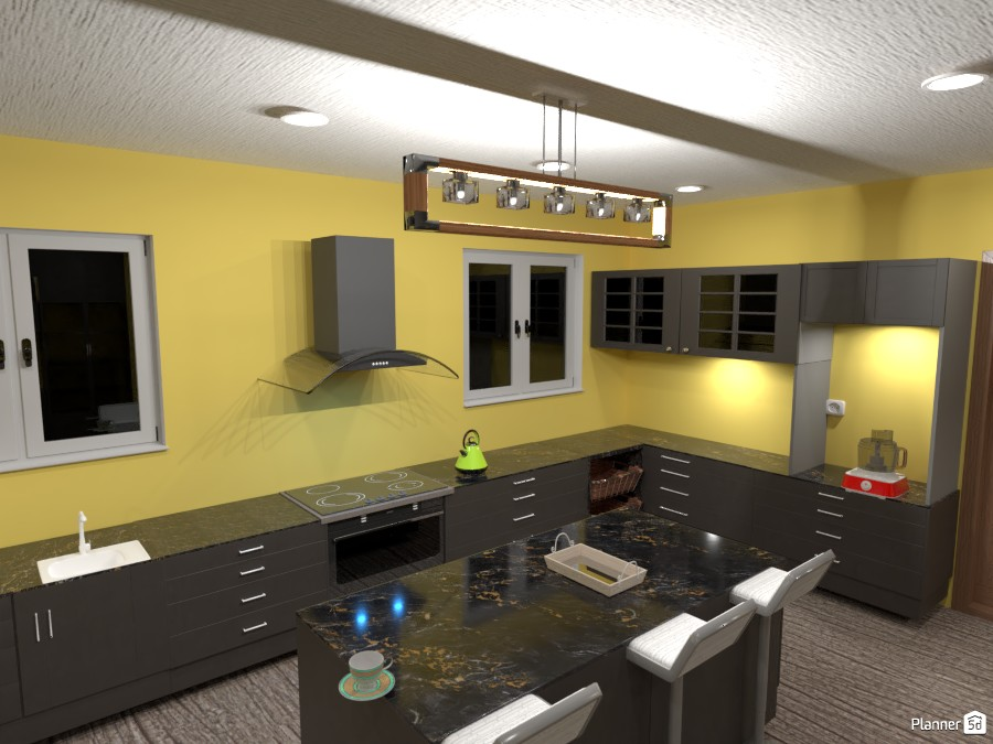 Kitchen - golden walls and grey cabinets 3676607 by Born to be Wild image