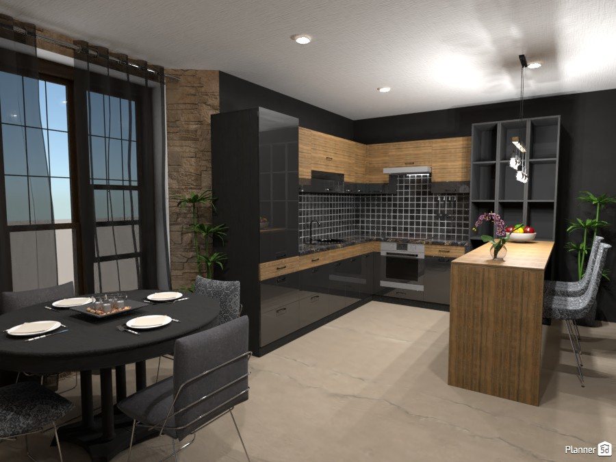 KITCHEN WITH DINING AREA IN DARK TONES 4363167 by Didi image