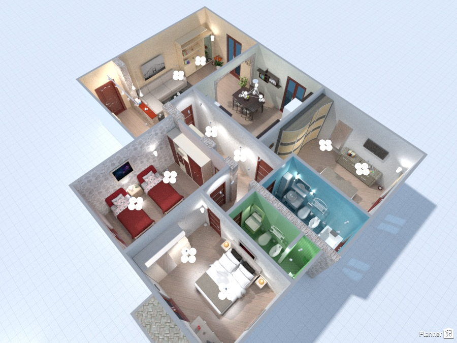 Eros grey 2 2 apartamento ideas planner 5d for Decoracion casa 50m2