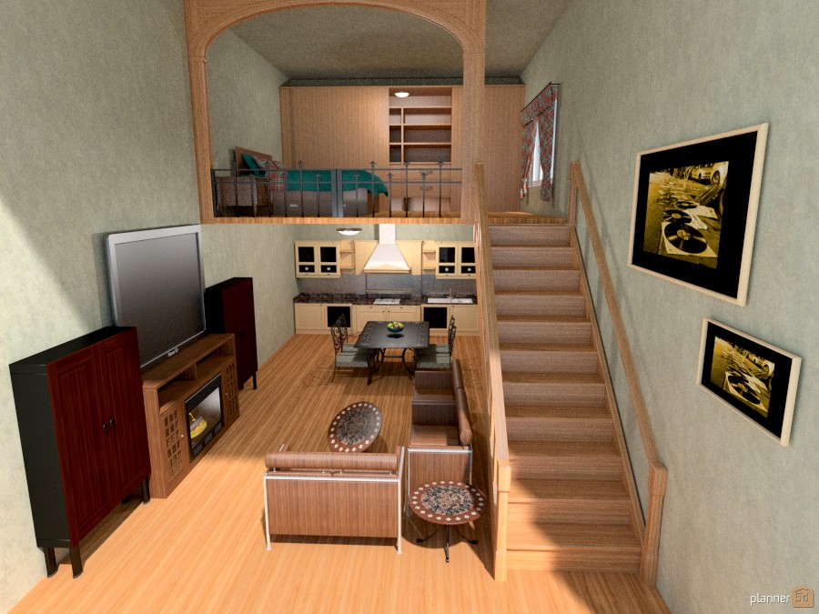 Loft bedroom apartment ideas planner 5d for Bedroom door ideas loft apartment