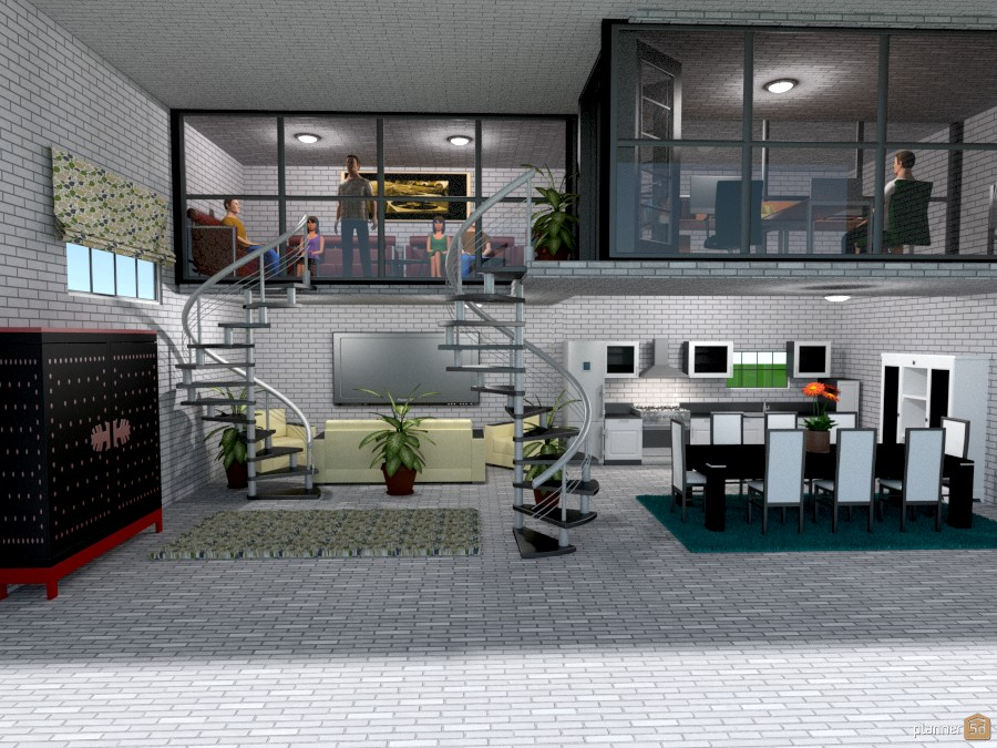 Two staircases loft apartamento ideas planner 5d for Cocina estar comedor