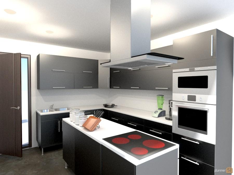 Modern black and white kitchen 810074 by Yordan Radev image