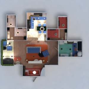 planos apartamento muebles decoración cuarto de baño dormitorio salón cocina descansillo 3d
