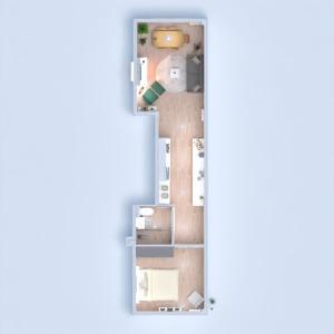 planos apartamento cuarto de baño dormitorio salón cocina 3d