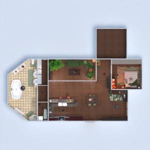 floorplans apartamento quarto cozinha sala de jantar 3d