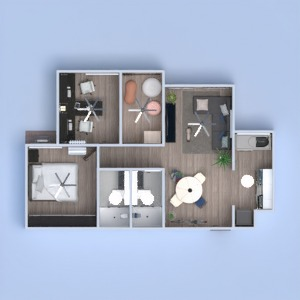 floorplans appartement décoration chambre à coucher cuisine salle à manger 3d