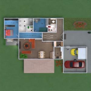 floorplans butas namas baldai vonia miegamasis svetainė garažas virtuvė eksterjeras valgomasis аrchitektūra prieškambaris 3d