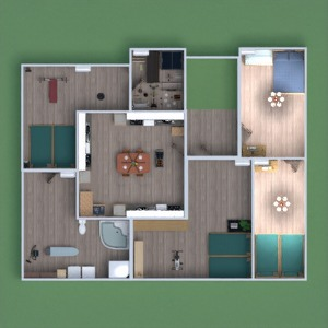 floorplans house terrace bathroom bedroom dining room 3d