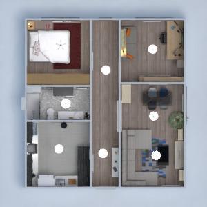 planos apartamento decoración cuarto de baño dormitorio comedor 3d