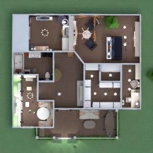 planos casa muebles decoración dormitorio paisaje 3d