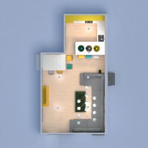 planos apartamento decoración salón cocina comedor 3d