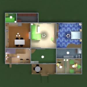 floorplans maison terrasse chambre à coucher salon cuisine chambre d'enfant bureau 3d