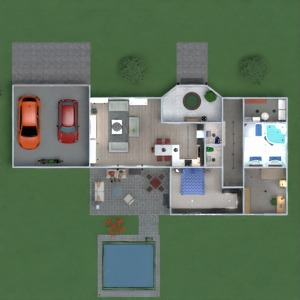 floorplans butas namas terasa baldai vonia miegamasis svetainė garažas virtuvė eksterjeras vaikų kambarys apšvietimas valgomasis аrchitektūra 3d