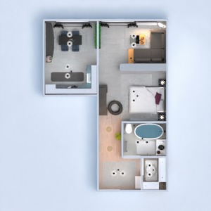 floorplans butas vonia virtuvė valgomasis prieškambaris 3d