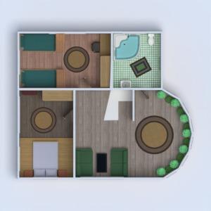 floorplans namas svetainė garažas virtuvė eksterjeras vaikų kambarys kraštovaizdis 3d