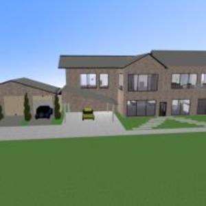 floorplans namas terasa baldai pasidaryk pats vonia miegamasis svetainė garažas virtuvė eksterjeras 3d