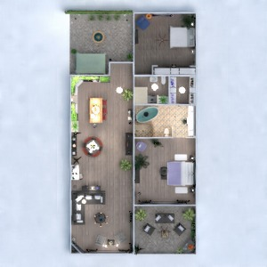 floorplans apartamento varanda inferior mobílias decoração casa de banho dormitório quarto cozinha área externa iluminação utensílios domésticos sala de jantar patamar 3d