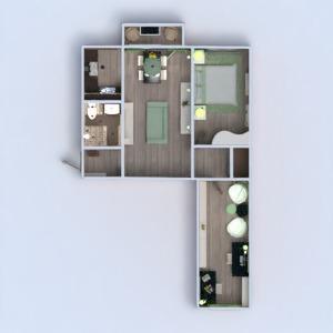 planos apartamento muebles cuarto de baño dormitorio salón cocina iluminación descansillo 3d