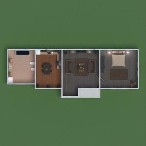 planos casa terraza cuarto de baño dormitorio salón cocina exterior 3d
