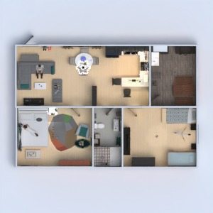 floorplans butas svetainė virtuvė 3d
